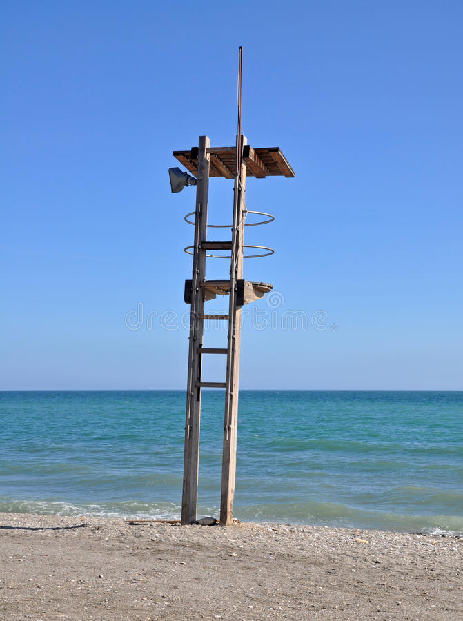 Lifeguard stand on Mediterranean beach royalty free stock photos