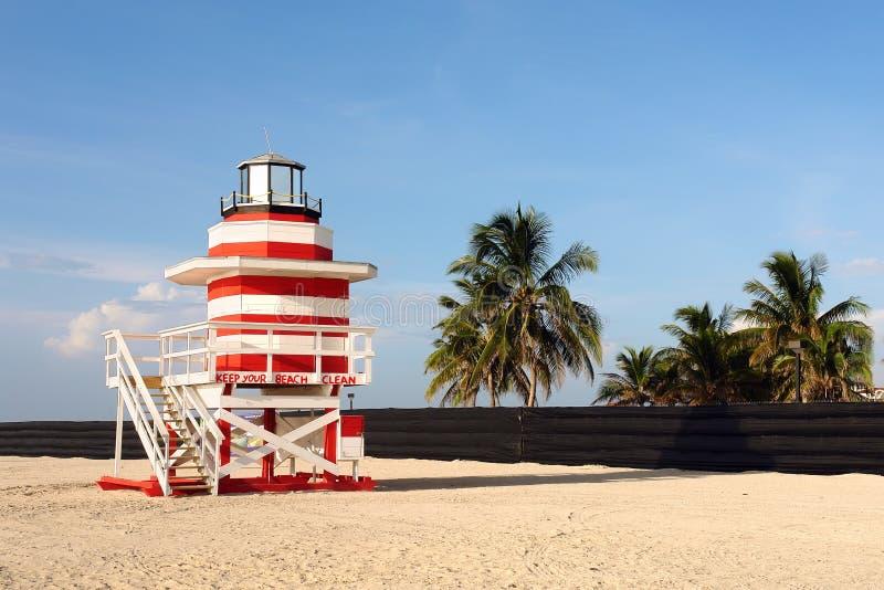 Lifeguard Stand In South Beach Miami stock photos