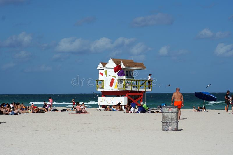 Lifeguard stand on South Beach in Miami royalty free stock photos