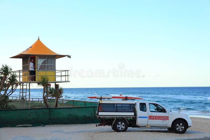 Beach lifeguard station and car. Australian workplace stock photos