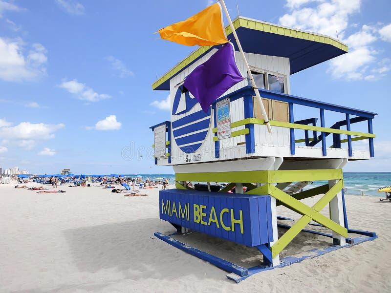 Lifeguard station on Miami Beach royalty free stock photography