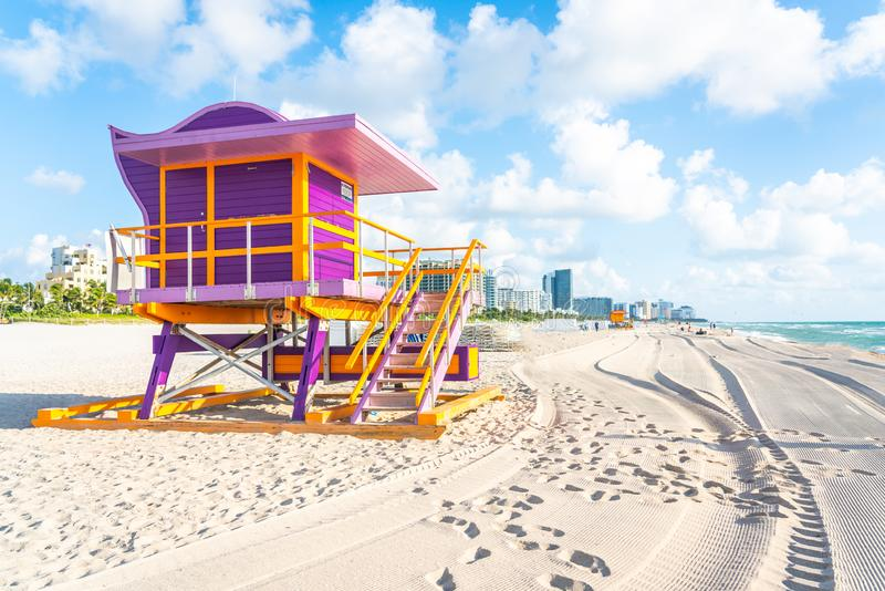 Lifeguard station on Miami beach, florida USA. Lifeguard station in miami beach, florida, usa stock photography