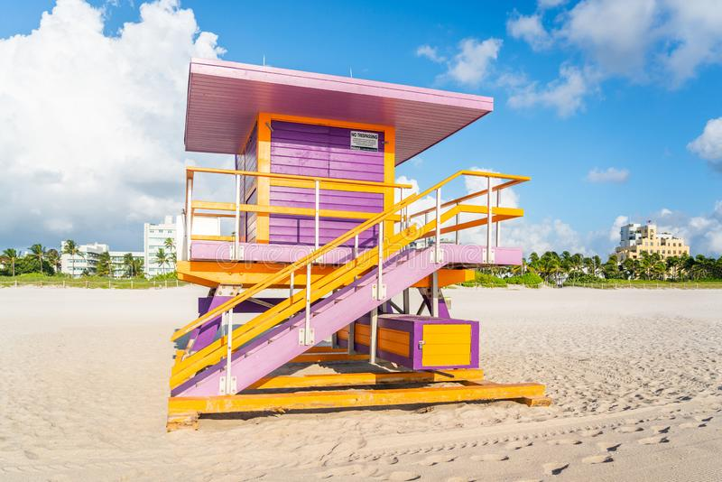 Lifeguard station on Miami beach, florida USA. Lifeguard station in miami beach, florida, usa royalty free stock image