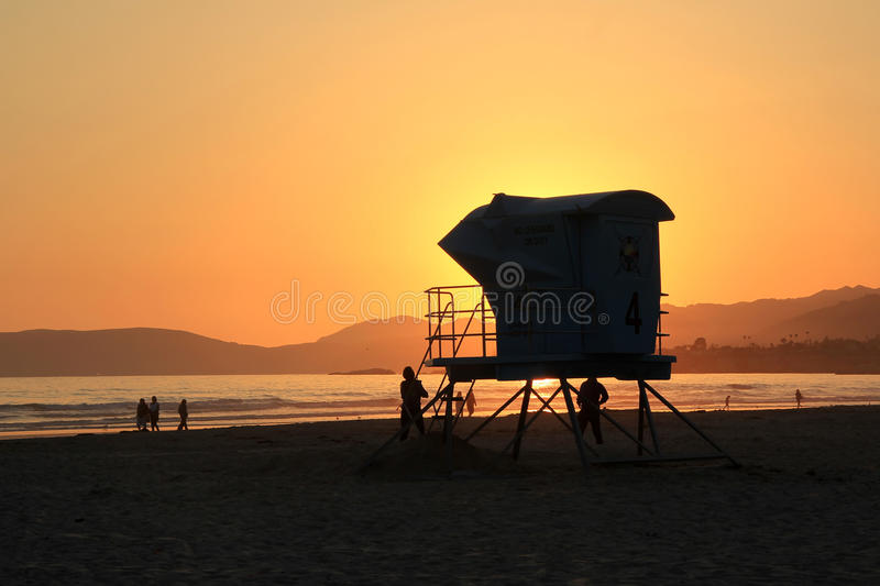 Lifeguard Station at Sunset stock images