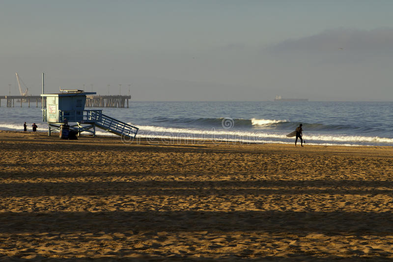 Lifeguard Station at Venice Beach, California. An unmanned lifeguard station in the early hours of the morning at Venice Beach, Southern CA (California), a very royalty free stock photo