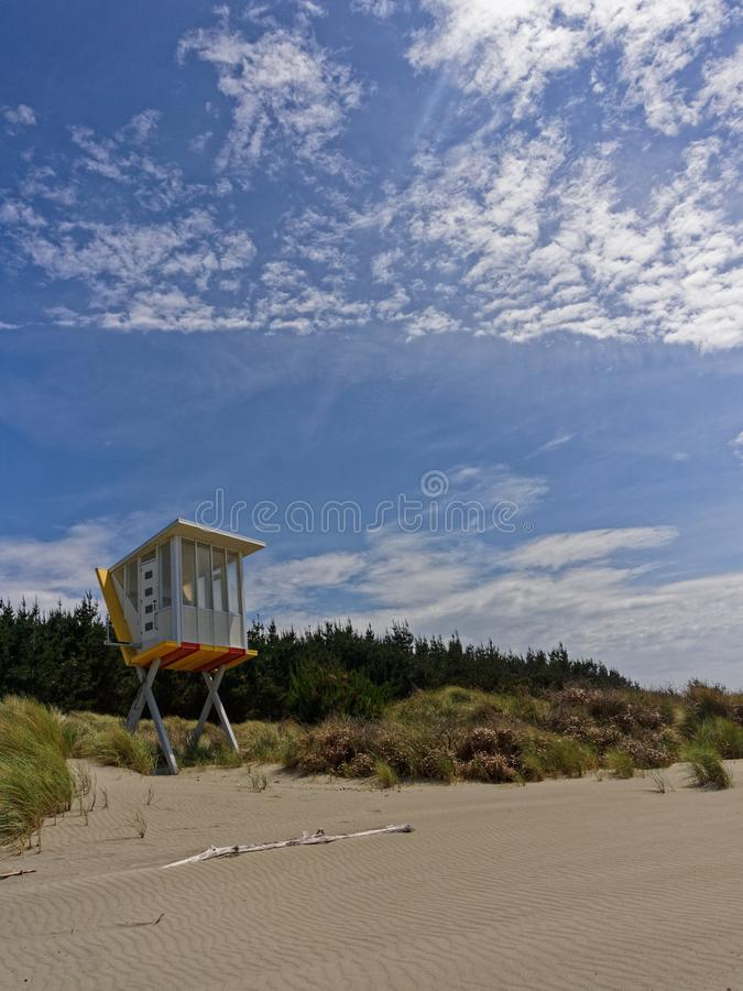 Lifeguard station at Woodend Beach, New Zealand stock image