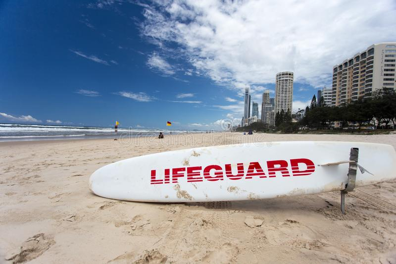 Lifeguard Surf Board Gold Coast Australia stock images