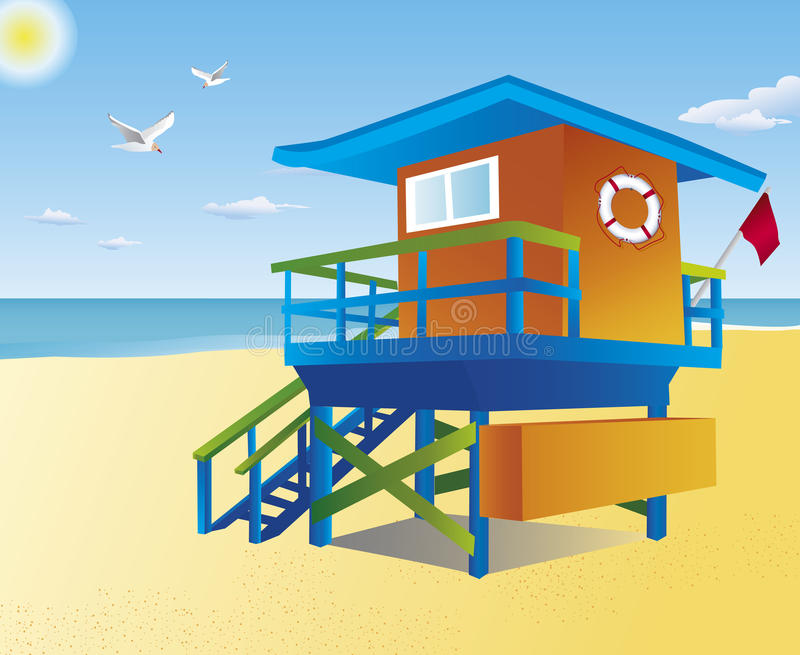 Download Lifeguard tower on a beach stock vector. Illustration of outdoors - 10414082
