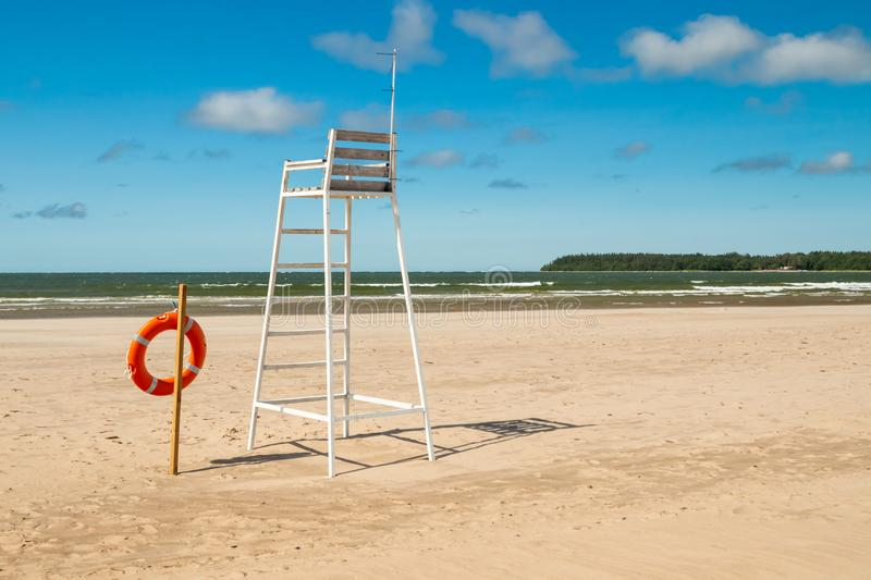 Lifeguard tower and lifering on beautiful sandy beach Yyteri at summer, in Pori, Finland.  stock photos