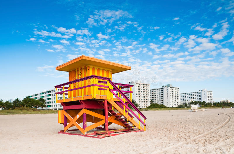 Lifeguard Tower in Miami Beach, Florida royalty free stock photos