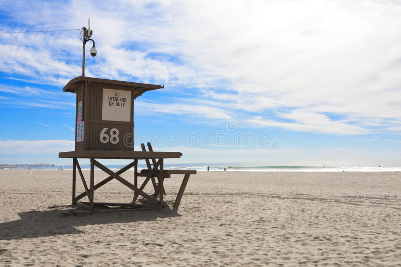 Lifeguard tower at Newport Beach, California royalty free stock photography