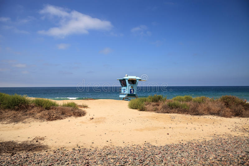 Lifeguard tower at the San Clemente State Beach. In Southern California in summer stock photos