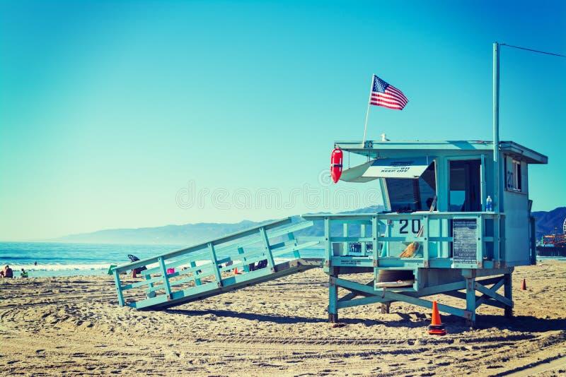 Lifeguard tower in Santa Monica. California royalty free stock photography