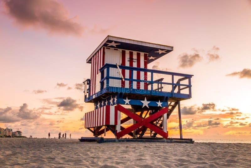 Lifeguard Tower in South Beach, Miami Beach, Florida. Colorful Lifeguard Tower in South Beach, Miami Beach, Florida royalty free stock image