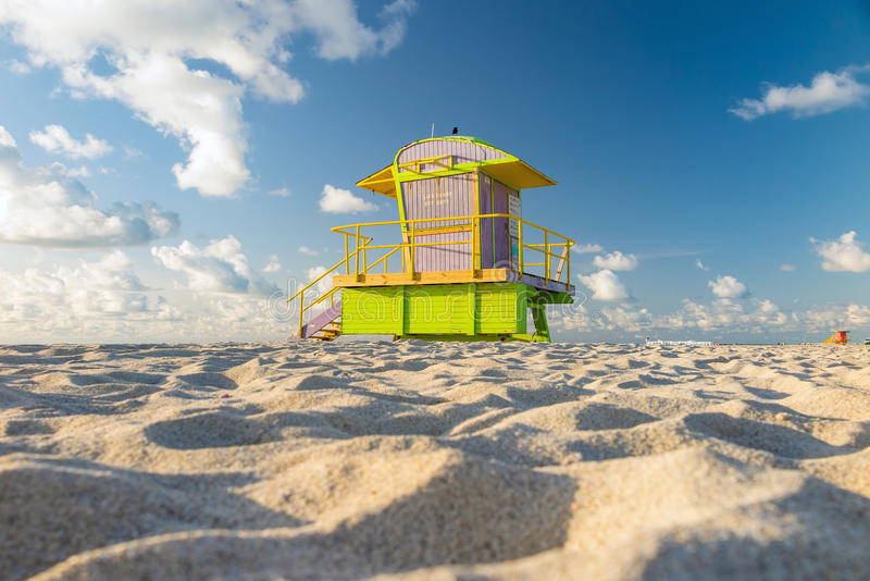 Lifeguard Tower in South Beach, Miami Beach, Florida. Colorful Lifeguard Tower in South Beach, Miami Beach, Florida royalty free stock photography