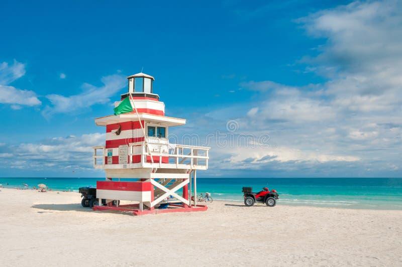 Lifeguard Tower in South Beach, Miami Beach, Florida. USA royalty free stock photography