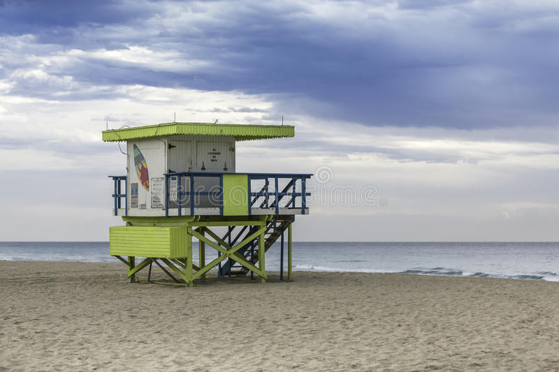 Lifeguard tower in South Beach, Miami royalty free stock image