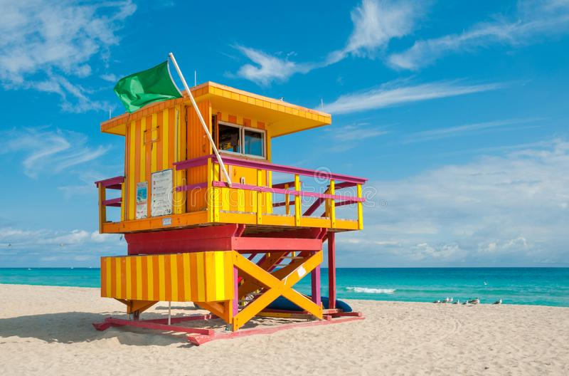 Lifeguard Tower in South Beach, Miami Beach, Florida. USA stock photo