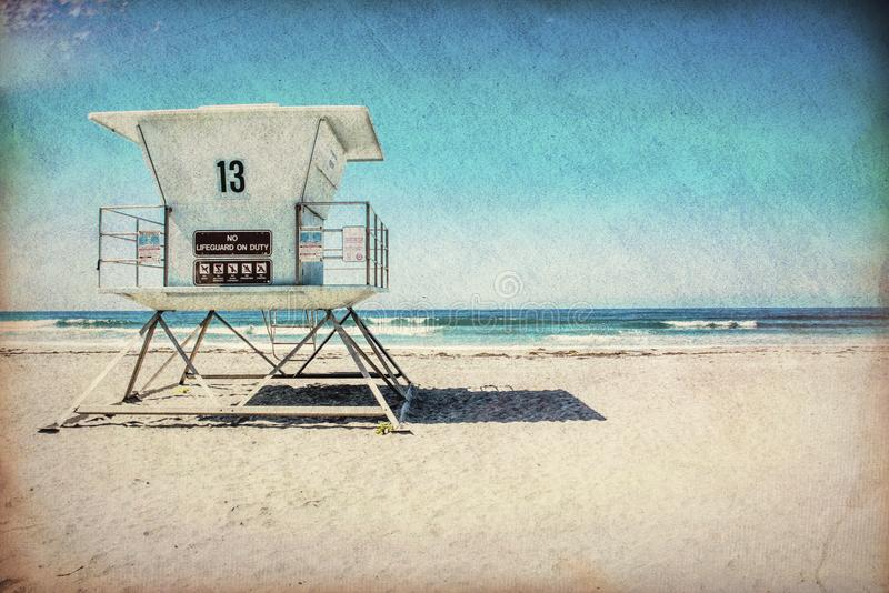 Lifeguard tower blue sky California beach royalty free stock photo