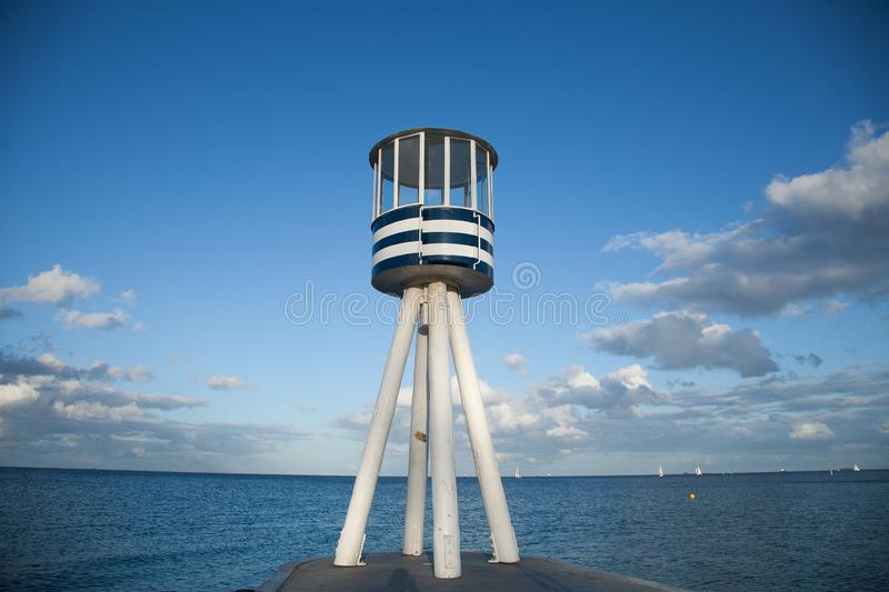 Lifeguard towers at a beach in Denmark royalty free stock image