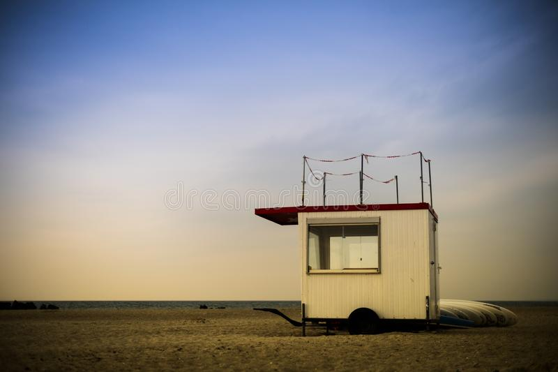 Lifeguard trailer with surf boards stock photo
