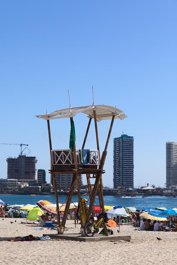 Lifeguard Watchtower on Cavancha Beach in Iquique, Chile royalty free stock image