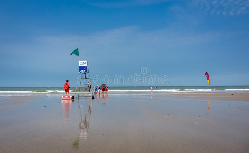 Lifeguards at the Belgian coast royalty free stock image