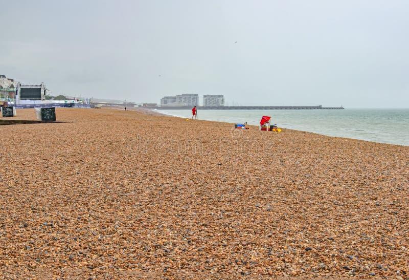 Lifeguards on an empty beach stock photography