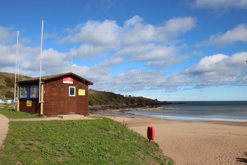 Lifeguards Hut, Coldingham Bay, Borders region stock photo