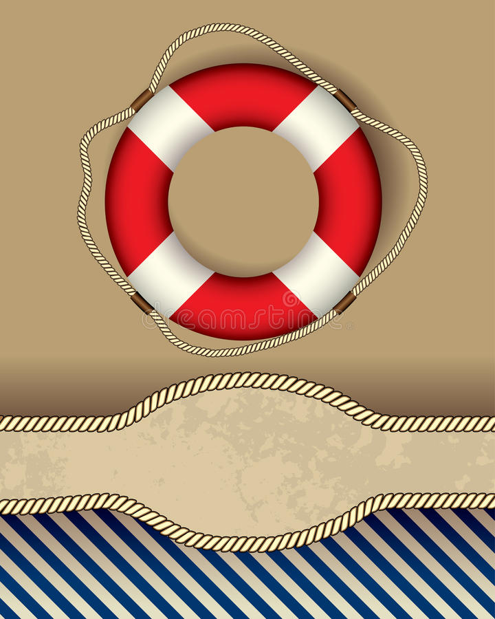 Lifeline lable. Vertical bordered background. Nautical style vector illustration