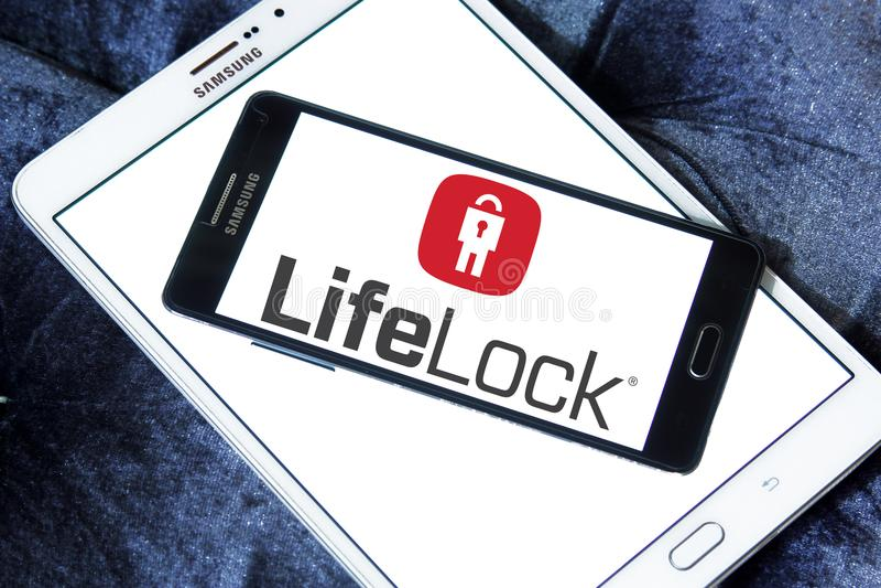 LifeLock company logo. Logo of LifeLock company on samsung mobile. LifeLock is an American identity theft protection company. it offers the LifeLock identity royalty free stock photo