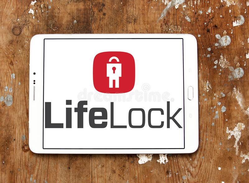 LifeLock company logo. Logo of LifeLock company on samsung tablet on wooden background. LifeLock is an American identity theft protection company. it offers the royalty free stock photos