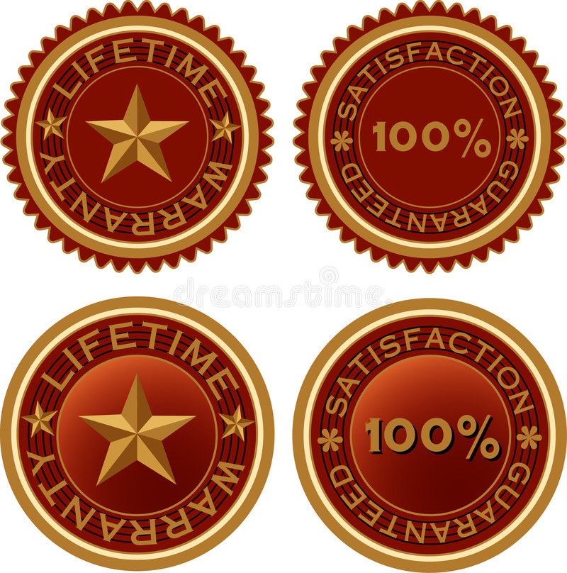 Lifesatisfaction. Vector labels for lifetime warranty vector illustration