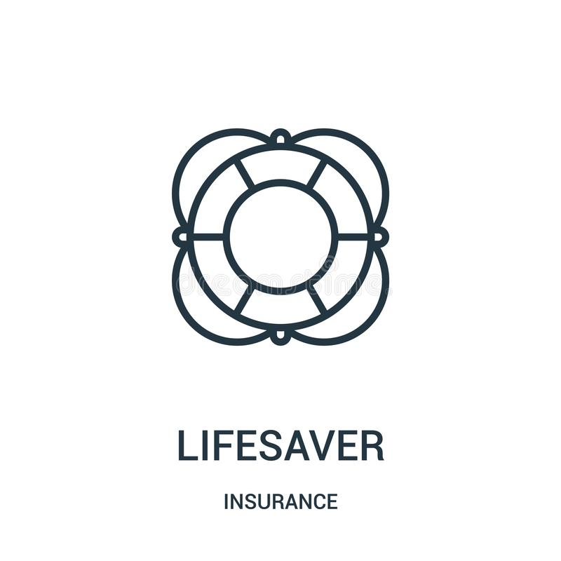 Lifesaver icon vector from insurance collection. Thin line lifesaver outline icon vector illustration. Linear symbol. For use on web and mobile apps, logo royalty free illustration