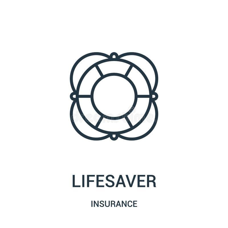 lifesaver pictogramvector van verzekeringsinzameling De dunne lijn lifesaver schetst pictogram vectorillustratie Lineair symbool royalty-vrije illustratie