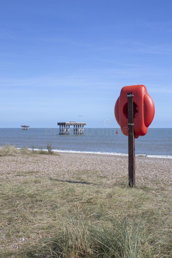 Sizewell nuclear power station water inlet and outlet platforms on Sizewell Beach, Suffolk, England royalty free stock photos