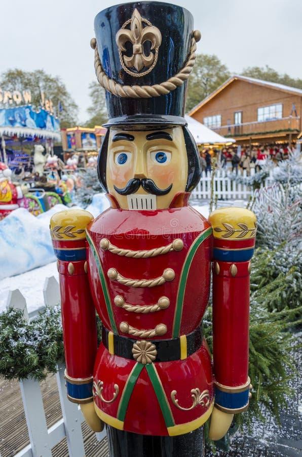 Lifesize toy soldier. A lifesize toy soldier in a wintery Christmas setting royalty free stock photography