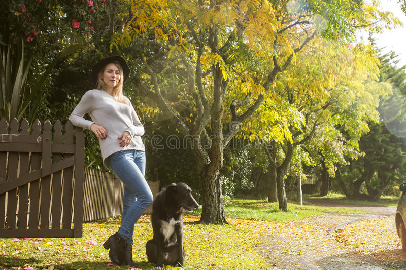 Lifestile outdoor portrait of young beautiful woman on natural b royalty free stock photography