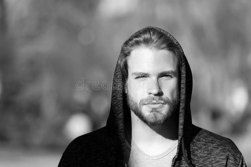 Lifestyle for active and healthy man, sport. Macho with beard in hood on sunny day. Bearded man wear casual sweatshirt stock image