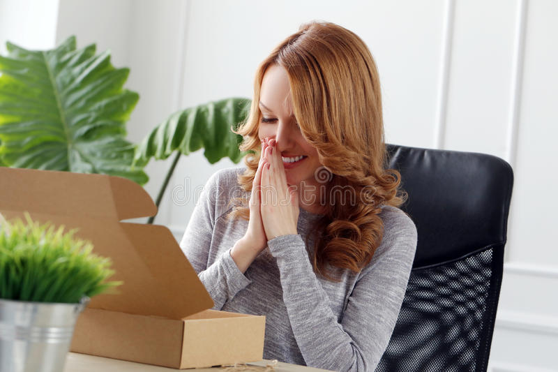 lifestyle belle femme de bureau image stock