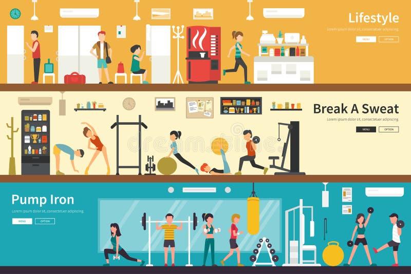 Lifestyle Break A Sweat Pump Iron flat interior outdoor concept web royalty free stock image