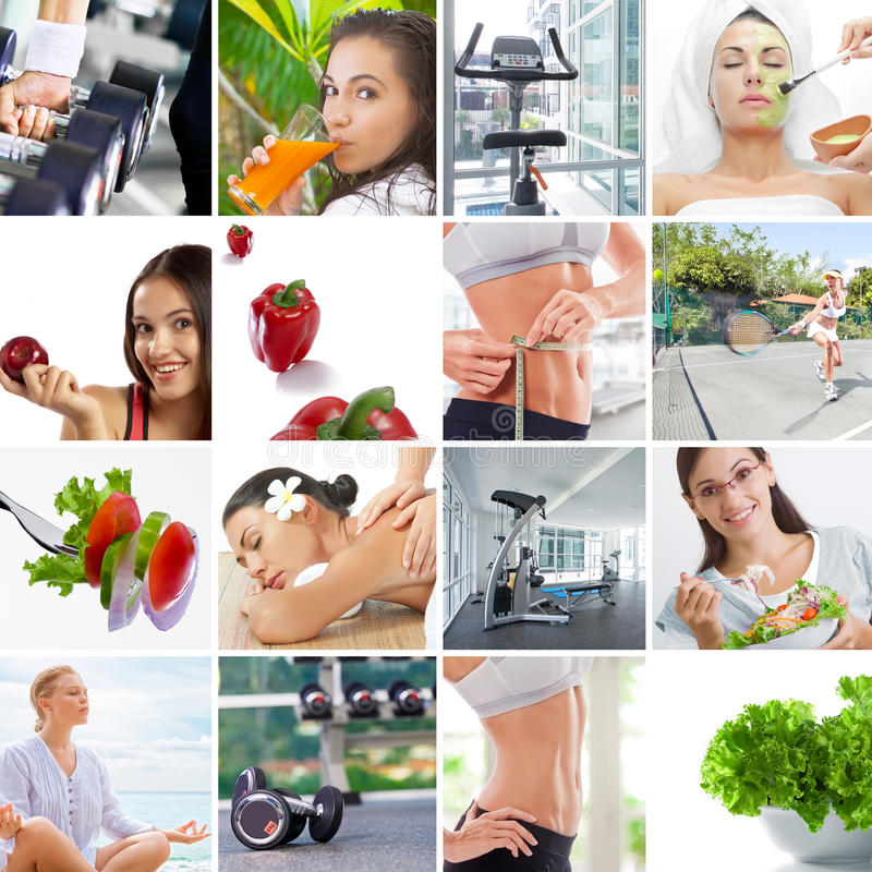 Lifestyle collage. Healthy lifestyle theme collage composed of different images stock photography