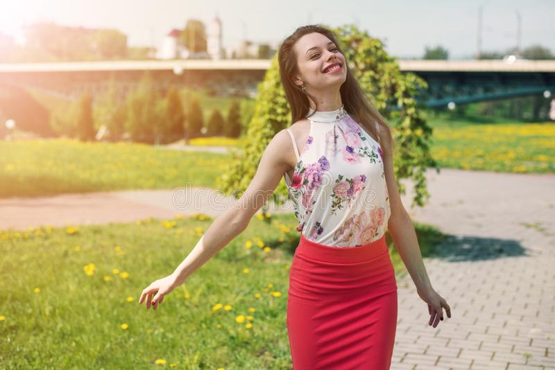 lifestyle concept - beautiful happy woman enjoying summer outdoors royalty free stock photos