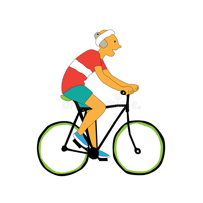 Person cycle and smile with mobile phone near his head. Illustration in vector. Geek Travel Lifestyle Concept of Planning a Summer Vacation Tourism and Journey stock illustration