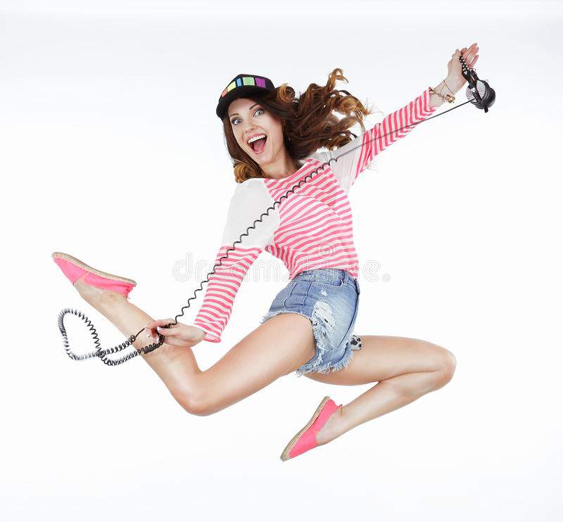 Lifestyle. Dynamic Animated Funny Woman Jumping. Freedom stock image