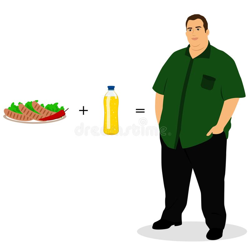 lifestyle A escolha Homem gordo ilustração royalty free