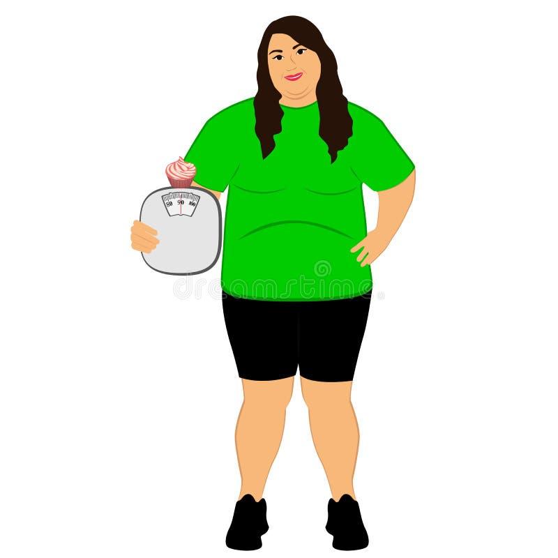 lifestyle A escolha Mulher gorda Alimento incorreto pesar ilustração stock