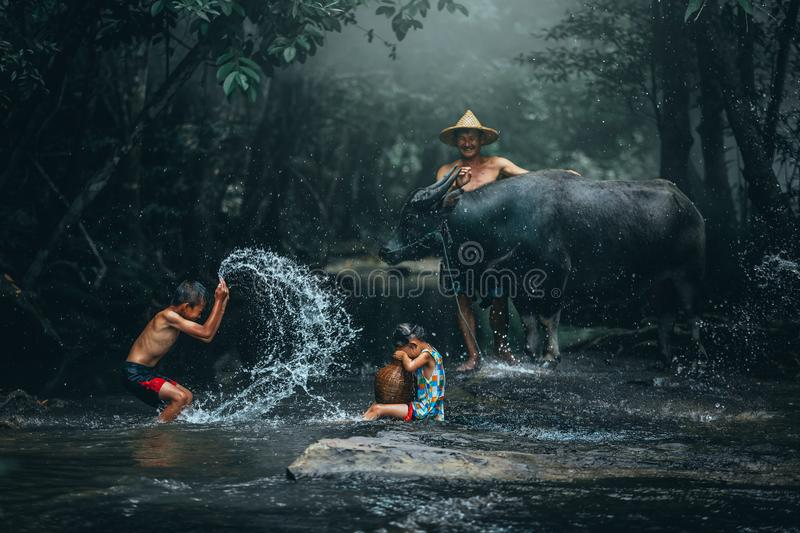 Lifestyle of family farmer at rural Asia. Traditional life of fa stock photography