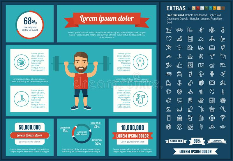 Lifestyle flat design Infographic Template. Lifestyle infographic template and elements. The template includes illustrations of hipster men and huge awesome set stock illustration