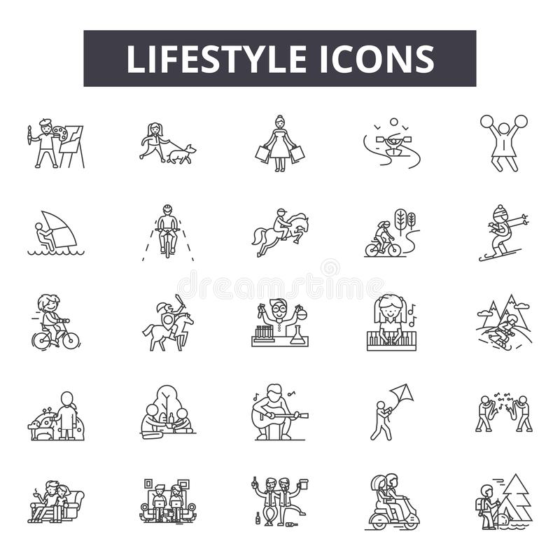 Lifestyle line icons, signs, vector set, linear concept, outline illustration. Lifestyle line icons, signs, vector set, outline concept linear illustration vector illustration